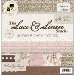 "Lace & Linen Paper Stack 12""X12""-48 Sheets"