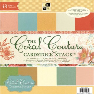 "Coral Couture Solid Cardstock Stack 12""X12""-48 Sheets"