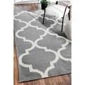 nuLOOM Handmade Flat-weave Moroccan Trellis Gray Wool Area Rug (7'6 x 9'6)