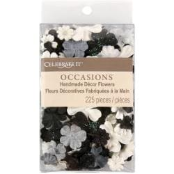 Celebrate It Handmade Paper Flower Confetti 225/Pkg-Black, White & Gray Mix