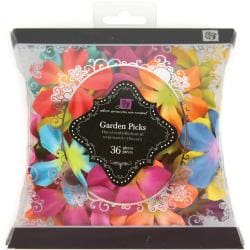 Garden Picks Handmade Paper Embellishments-Small 2-Tone Flowers 36/Pkg