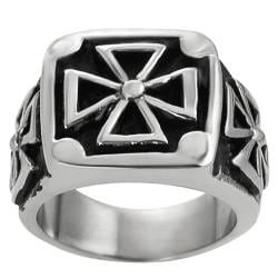 Vance Co. Antiqued Stainless-Steel Men's Pattee Cross Ring