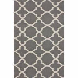 nuLOOM Handmade Flatweave Moroccan Trellis Grey Wool Rug (5' x 8')