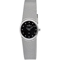 Skagen Women's Oval Black Glitz Mesh Band Watch
