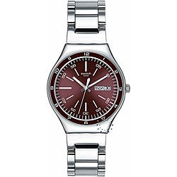 Swatch Men's Burgundy Dial Multi-function Watch