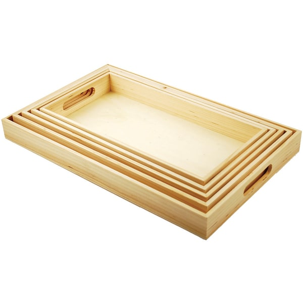 Paintable Wooden Tray Set W/Handles 5/Set