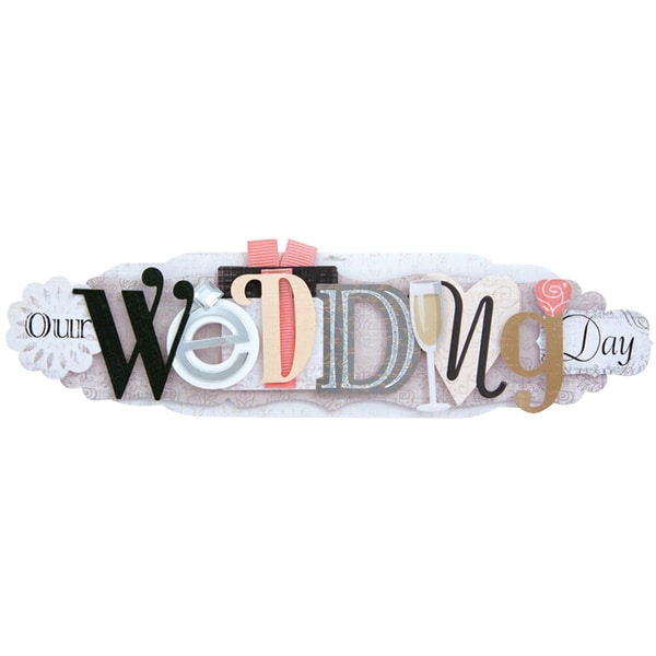 Wedding Stacked Statement 3-D Title Sticker-Our Wedding Day