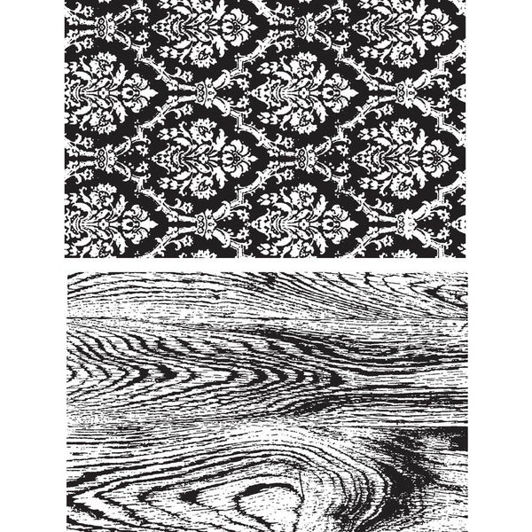 Tim Holtz Cling Rubber Stamp Set-Wallpaper and Wood