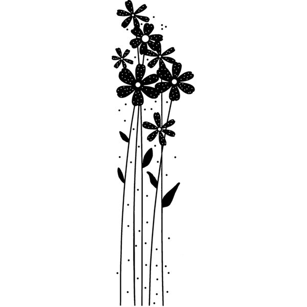 Magenta Cling Stamps-Tall Solid Flowers