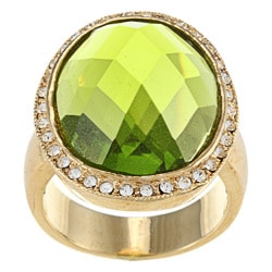 City Style Gold Oval Olive/Clear Crystal Pave Ring