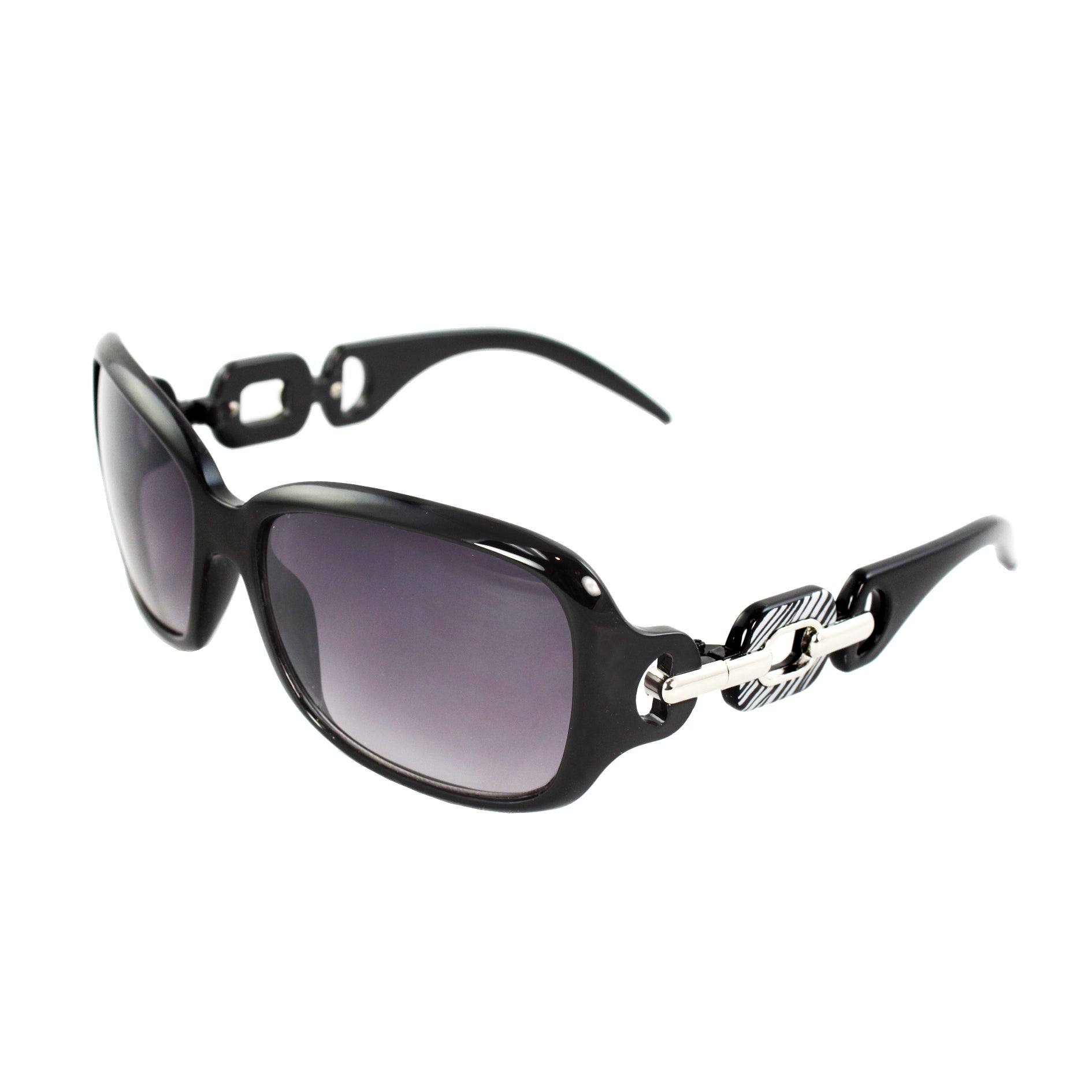 Square Fashion Sunglasses Black Frame Purple Black Lenses for Women
