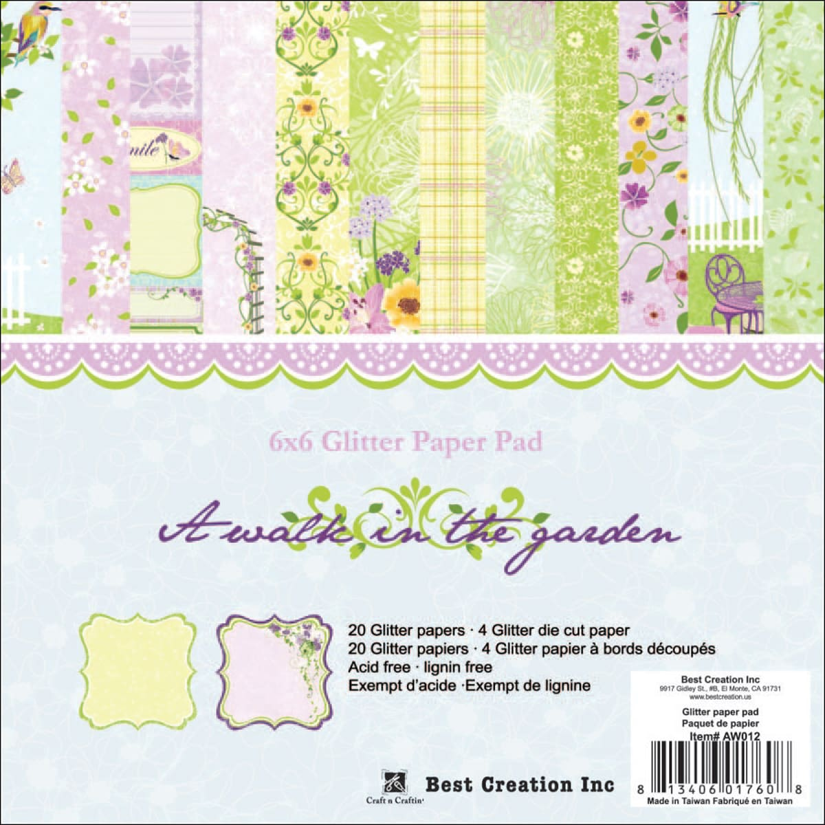 """A Walk In The Garden Double-Sided Paper Pad 6""""X6"""" 24/Sheets"""