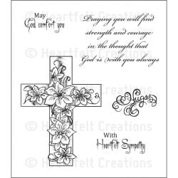 Heartfelt Creations Cling Rubber Stamp Set -Cross and Lilies