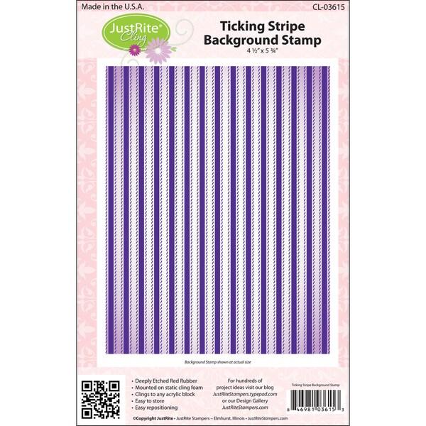 JustRite Stampers Cling Background Stamp-Ticking Stripe