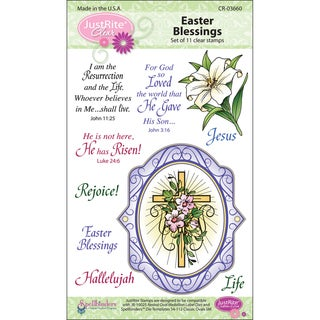 JustRite Stampers Clear Stamp Sets-Easter Blessings Oval Medallions 11pc