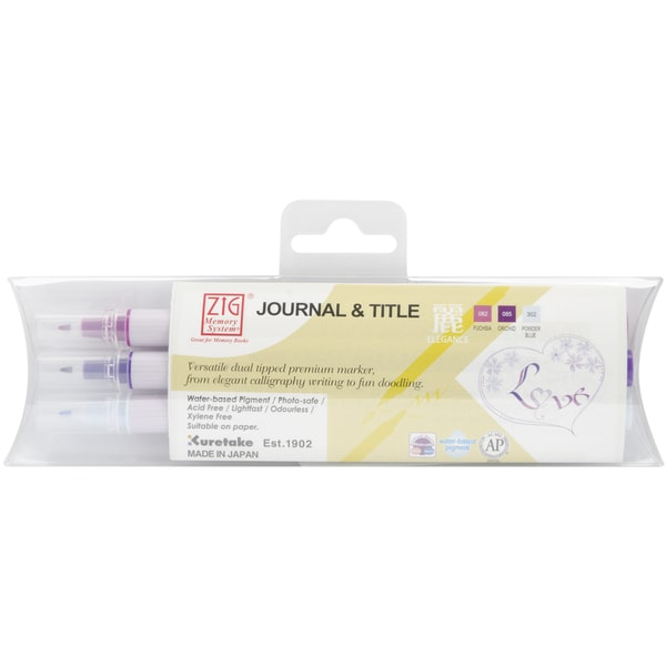 Zig Memory System Journal & Title 3 Color Marker Set-Elegance