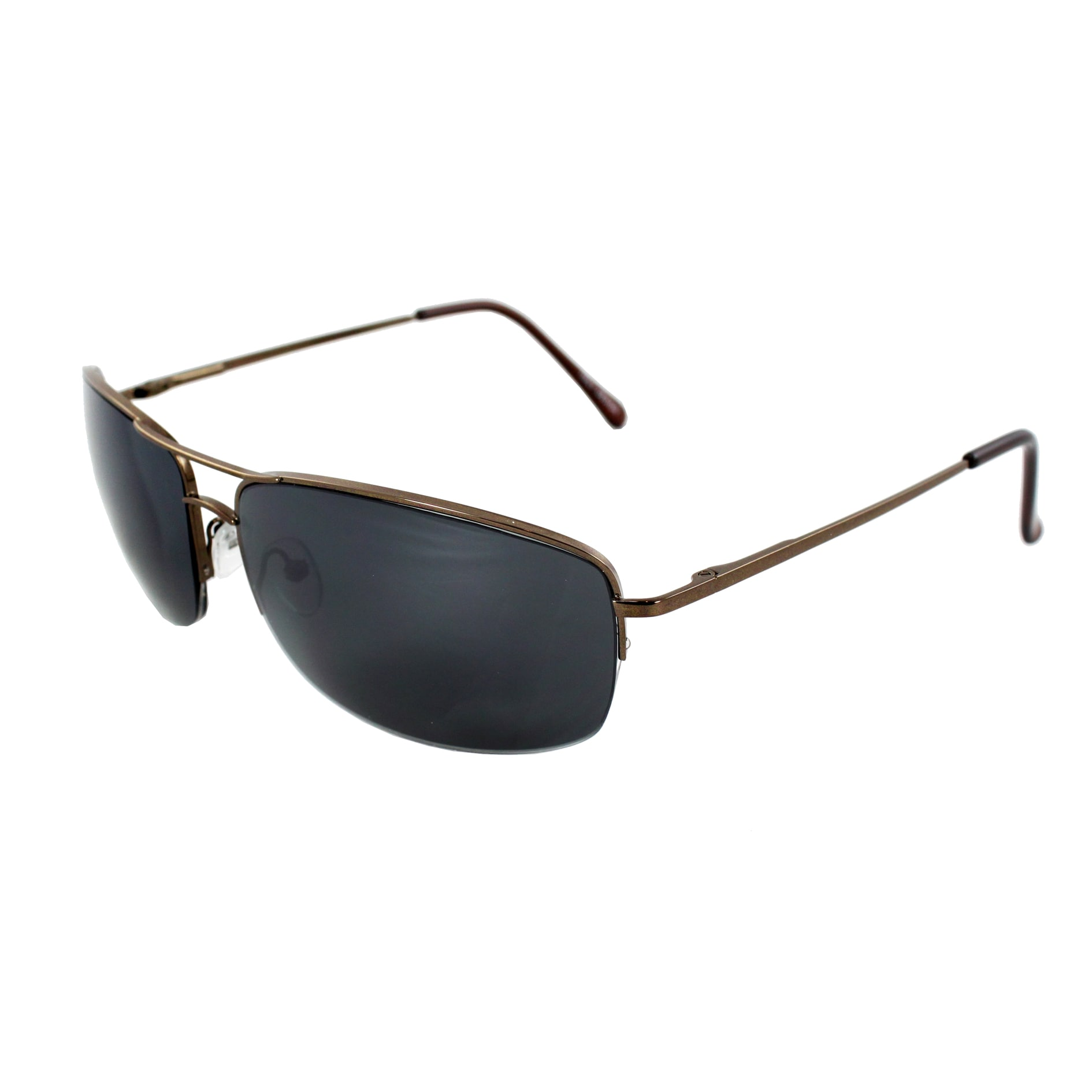 Semi-Rimless Fashion Sunglasses Brown Frame with Black Lenses for Women and Men