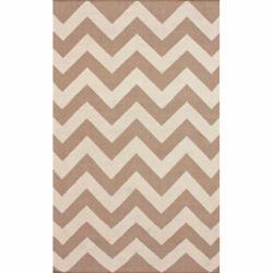 nuLOOM Handmade Flatweave Chevron Natural Wool Rug (5' x 8')