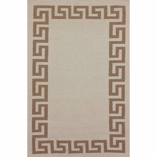 nuLOOM Handmade Flatweave Greek Key Natural Wool Rug (7'6 x 9'6)