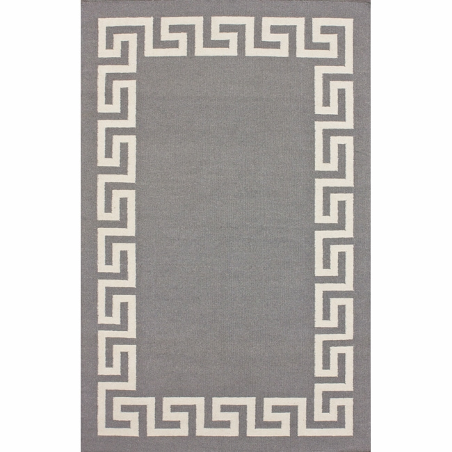 nuLOOM Handmade Flatweave Greek Key Grey Wool Rug (7'6 x 9'6)