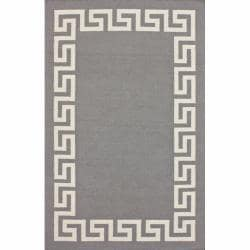 nuLOOM Handmade Flatweave Greek Key Grey Wool Rug (5' x 8')