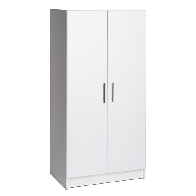 elite white 2 door standing cabinet armoire wardrobe furniture bedroom storage ebay. Black Bedroom Furniture Sets. Home Design Ideas
