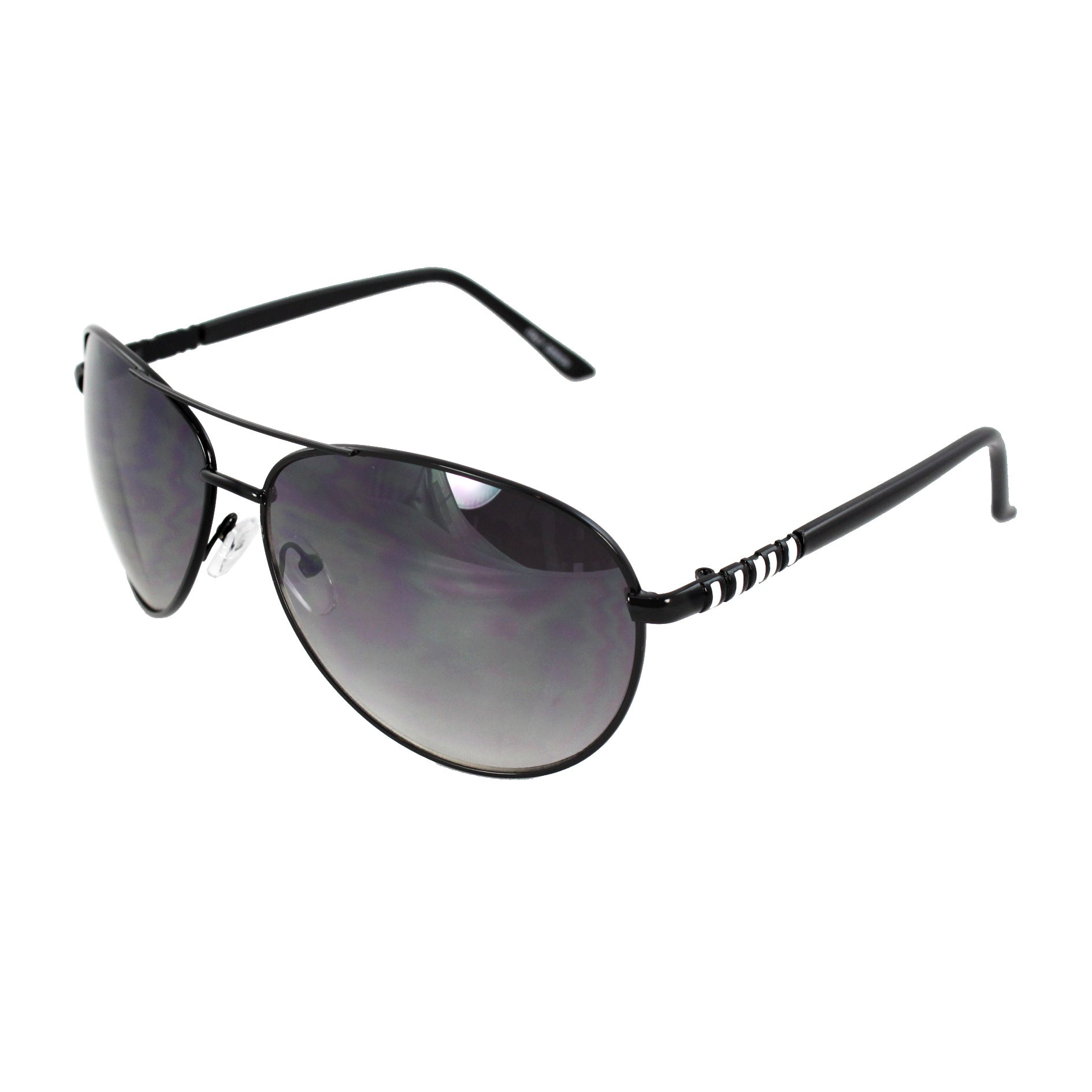 Pilot Fashion Aviator Sunglasses Black Frame with Purple Black Lenses for Men and Women