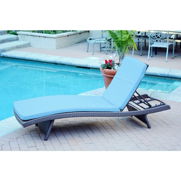 Wicker Adjustable Chaise Lounger with Cushion