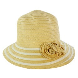 Women's Beige Floral Accent Straw Hat