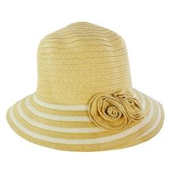 Women's Beige Floral Accent Straw Hat