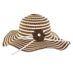 Faddism Stylish Women Summer Straw Hat Brown Stripes Pattern Design with Brown Flower Bow