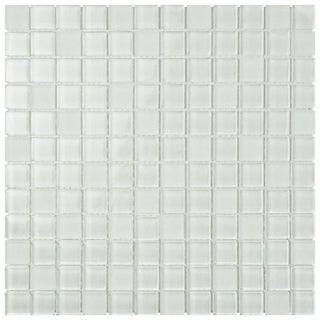 SomerTile 11.75x11.75-inch Reflections Square Ice White Glass Mosaic Wall Tile (Case of 10)