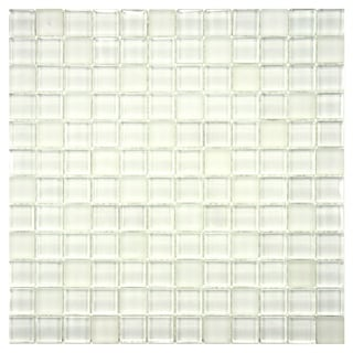 SomerTile 'Reflections' Square Ice White Glass Mosaic Tiles (Pack of 10)