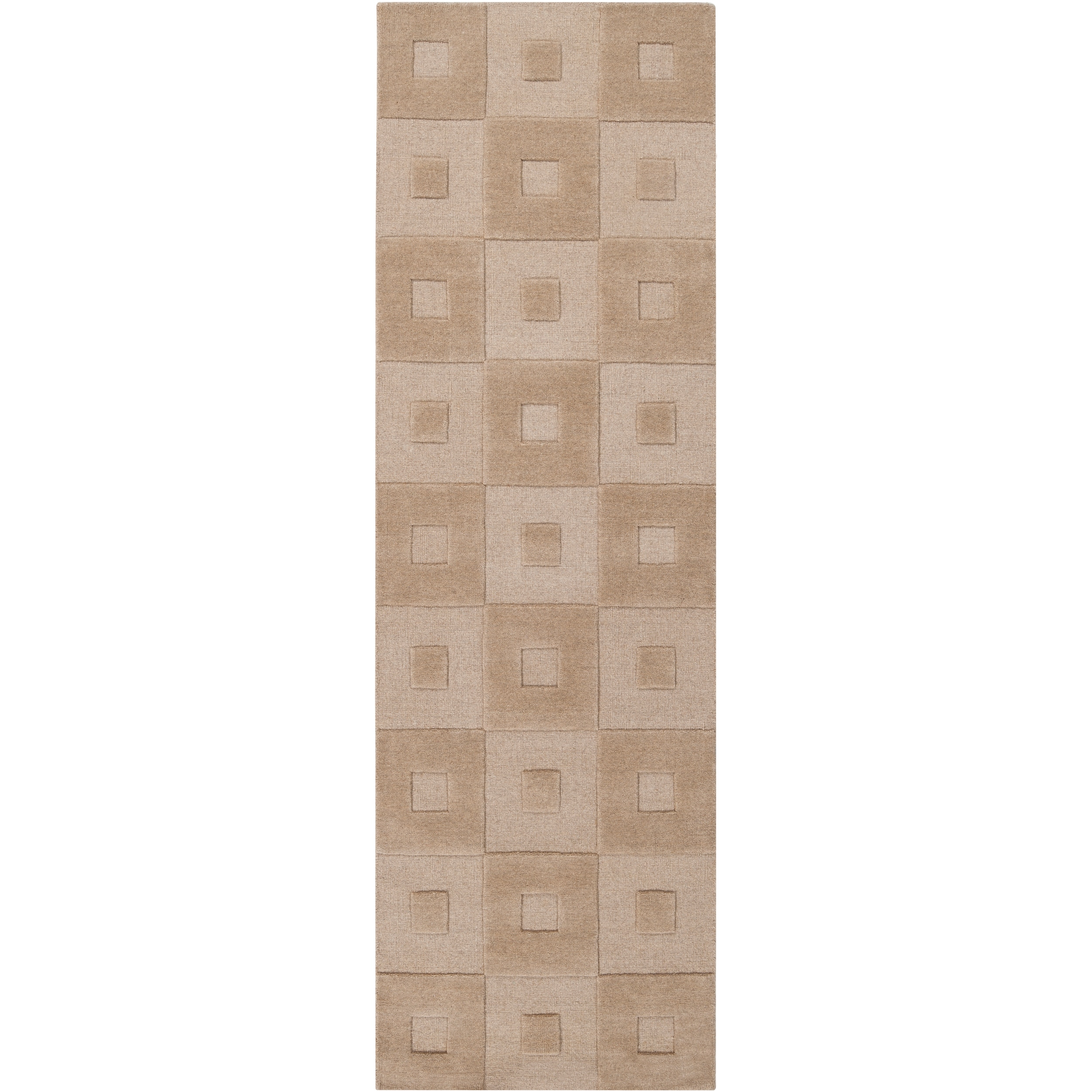 Hand-crafted Solid Beige Geometric Indus Valley Wool Rug (2'6 x 8')