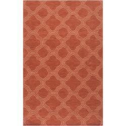 Hand-crafted Orange Lattice Mantra Wool Rug (5' x 8')