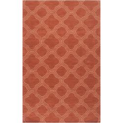 Hand-crafted Orange Lattice Mantra Wool Rug (8' x 11')