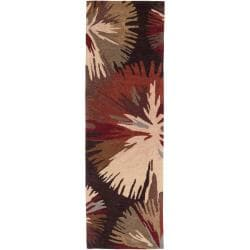 Hand-tufted Brown Edging Rug (2'6 x 8')
