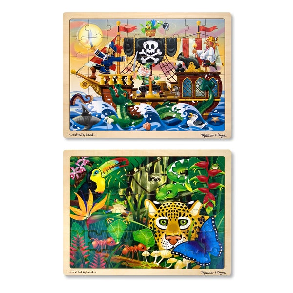 Melissa & Doug Jigsaw Bundle 48-piece Boy Puzzles (Set of 2)