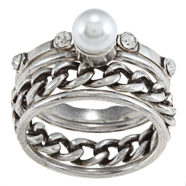 City by City City Style Antique Silver Three-crystal and Pearl Stackable Ring