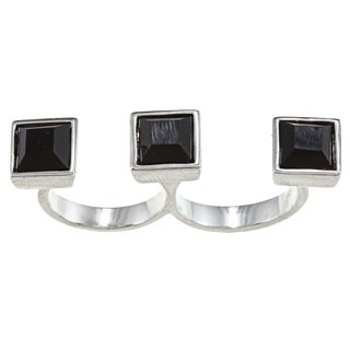 City by City City Style Silvertone Square Jet Crystal Two-finger Ring