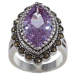 City by City Antique Silver Marcasite Light Amethyst CZ Marquis Ring