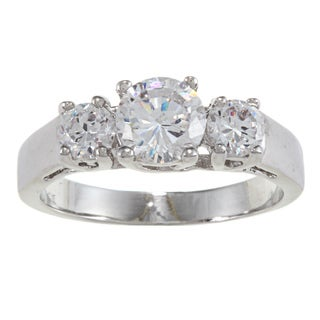 City Style Silver Three-stone Clear Cubic Zirconia Ring