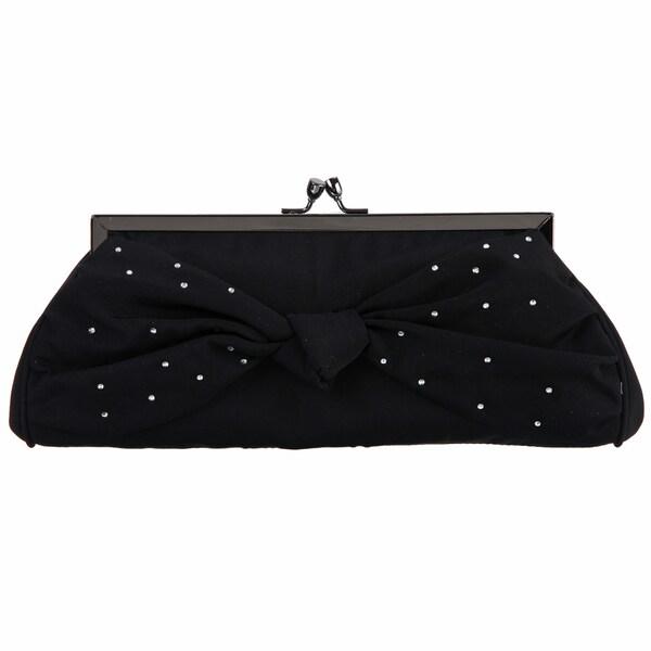 Carlo Fellini Isabella Black Satin Evening Bag