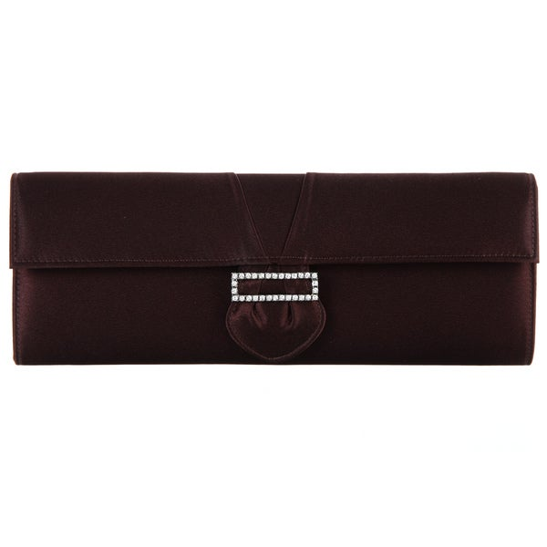 Carlo Fellini 'Carol' Brown Satin Evening Bag