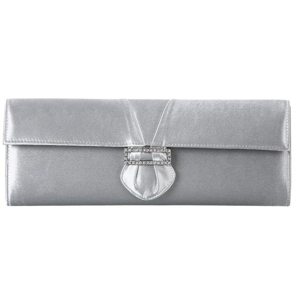 Carlo Fellini 'Carol' Cloud Silver Satin Evening Bag