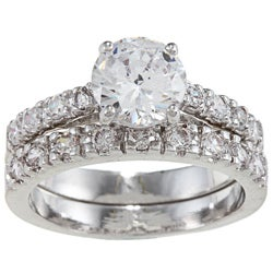 Silver Round Clear CZ Engagement Ring Set (Size 6)
