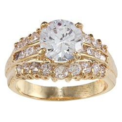 High-polish Gold Wedding Set with Clear Round-cut Cubic Zirconia Stone