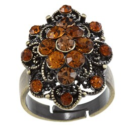City Style Antiqued Gold Smoke Topaz Crystal Flower Cut Ring
