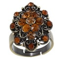 City by City City Style Antiqued Gold Smoke Topaz Crystal Flower Cut Ring