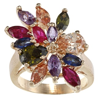 High-polish Base Metal Gold Multi-jewel Cubic Zirconia Cut Ring